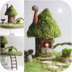 Daily Colours : Fairy Houses - Moss Fairy House Small touches of cones, smail shells, ladder, step stones Mini Fairy Garden, Fairy Garden Houses, Gnome Garden, Fairies Garden, Fairy Village, Fairy Crafts, Fairy Furniture, Gnome House, Deco Floral