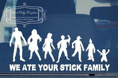 Zombie stick family  vinyl vehicle decal. $10.00, via Etsy.