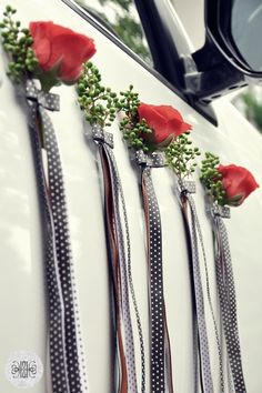 wedding car decoration, roses,  dekoracja auta