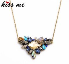 Rhinestone Pendant Necklace Thin Chain Collar Necklace Jewelry Chokers JW1N009 #Unbranded