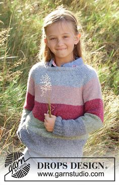 Spring lines / DROPS children - free knitting patterns by DROPS design, Knitted sweater for children in DROPS Sky. The piece is worked in the round with stripes and raglan from top to bottom. Knitting Gauge, Knitting Charts, Sweater Knitting Patterns, Free Knitting, Baby Knitting, Crochet Patterns, Knitting Sweaters, Drops Design, Crochet Design