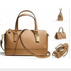 Coach Saffiano mini satchel Subtle custom hardware complements the sophisticated crosshatch texture of Saffiano leather on this lightly structured silhouette. Refined and remarkably durable, the compact design includes handles and a shoulder strap for multiple wearing options. Coach Bags Satchels