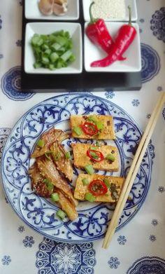 Veg-Olga: Tofu i boczniaki w słodko-ostrej marynacie
