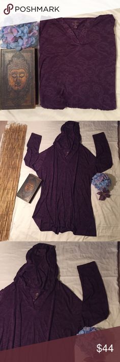 "Balance Collection burnout hoodie Sweet hoodie in gorgeous dark purple burnout pattern. Nice and roomy at approximately 24"" underarm to underarm and approximately 29"" long. Excellent condition. 65% rayon 35% polyester. Balance Collection Tops Sweatshirts & Hoodies"
