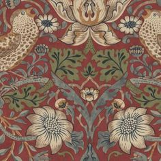 Shop For William Morris Strawberry Thief Wallpaper Red 212563 At Tallantyre Interiors Great Range Of Quality Products Online Or In Our Morpeth And