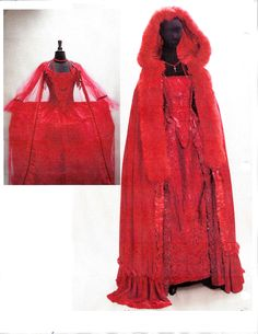 Two Mercy Lewis designs. Left...Silk dress with hand embroider stomacher and silk netting robe. Right is silk taffeta dress with hand embroidered silk floral trim. Silk velvet cape trimmed in red fox.  Joseph Porro designs