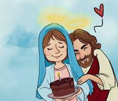 Jesus e Maria Blessed Mother Mary, Blessed Virgin Mary, Catholic Art, Religious Art, Religious Images, Rosary Catholic, Happy Birthday Mama Mary, Mom Birthday, Jesus Cartoon