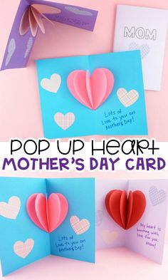Mom's heart will burst with joy when she opens up this Pop-Up Heart Card on Mother's Day. This cute card idea is an easy project for kids to create for Mother's Day with the help of our handy template. Easy Mother's Day Crafts, Mothers Day Crafts For Kids, Diy Mothers Day Gifts, Happy Mothers Day, Diy For Kids, Mothers Day Cards Craft, Mothers Day Card Template, Gift For Mother, Cute Mothers Day Ideas