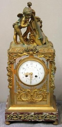 French gilded bronze and crystal clock, 19th Century.
