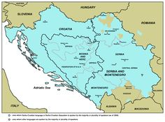 Area where the Serbo-Croatian language or Serbo-Croatian diasystem is spoken by the majority or plurality of speakers (as of 2005)