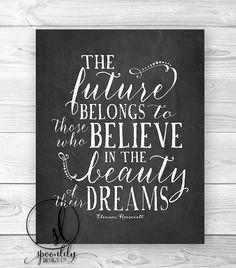 Eleanor Roosevelt Chalkboard Quote, Chalkboard Wall Art, Chalkboard Art, Future Dreams, Wall Decor, Home Decor - Wall ART PRINT