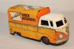 1960's Made in Japan, Volkswagen Shock Absorbers Tin Friction Truck, Original