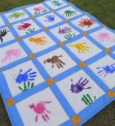 """A while back Firecracker's kindergarten class was studying the letter Q and with it their Q-chant was about """"Quails on a quilt."""" so I offe. Hand Print Animals, Harmony Day, Class Projects, Art Projects, School Projects, School Ideas, Sewing Projects, Cute Quilts, Baby Quilts"""