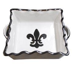 Square Baker 8x8 / Black Fleur De Lis | Louisville Stoneware