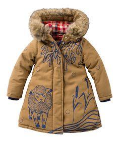 baby Gap Toddler Preschool Girls Ivory Puffer Coat with Hood and Peplum Hem