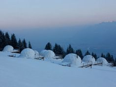 """Whitepod Resort, in the heart of the Swiss Alps, Switzerland. You get to """"glamp"""" in an igloo!"""