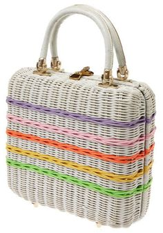 Vintage Weave a Rainbow Purse Wicker weave handbag with plastic covering, circa 1980s