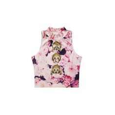 Retrostylediscover Ladies Floral Style Emoji Shirt Monkey Emoji Crop... (€20) ❤ liked on Polyvore featuring tops, black, crop tops, women's clothing, black floral print shirt, floral top, black floral top, floral print top and shirts & tops