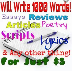 write 1000 words of ESSAY, short story or anything in 12hrs by honest_chick