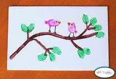 birds + thumbprints = easy art   http://meetthedubiens.blogspot.com/2010/05/thumbprint-birdies-on-branch.html
