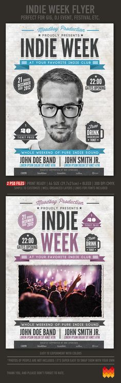 "Buy Indie Week Flyer/Poster by moodboy on GraphicRiver. ""Indie Week"" – This flyer/poster was designed to promote music event, such as a gig, concert, festival, dj set etc. Graphisches Design, Tool Design, Flyer Design, Layout Design, Print Design, Wisdom Script, Typography Design, Branding Design, Promo Flyer"