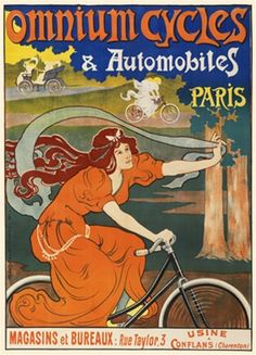 Omnium Cycles and Automobiles Paris 1897 French - Vintage Poster Reproduction. This French poster features a woman in an orange dress riding a bike through the forest holding up a ribbon to fly in the wind. Giclee Advertising Print. Classic Posters