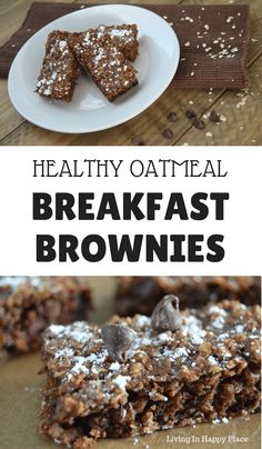 Healthy Breakfast Brownies This healthy twist on breakfast brownies will knock your socks off! If you are looking for healthy breakfast recipe ideas, you must try these flourless chocolate baked oatmeal bars. Easy healthy breakfast brownies for kids. Healthy Oatmeal Breakfast, Breakfast On The Go, Healthy Breakfast Recipes, Healthy Baking, Breakfast Ideas, Healthy Bars, Healthy Shakes, Sweet Breakfast, Healthy Breakfasts