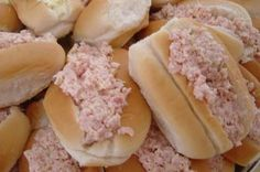 """Linda s Ham Salad Sandwich (Sandwiches) or Finger Rolls from Food.com: These are a big hit around the holidays when having parties or having baby, graduation and wedding showers! This recipe uses left over ham from a smoked shoulder. The flavor is WONDERFUL, and so GOOD! This is a real treat! My gram always made it for us growing up, as she made us smoked shoulder quite often... I always helped her grind the meat, and that I was the """"Big Cheese"""" getting to do that part LOL... Now I just use…"""