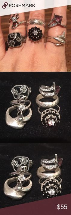 Six sterling silver rings 925 Six sterling silver rings. All stamp 925. Different sizes. Jewelry Rings