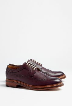 Grenson  Burgundy Grain Leather Longwing Sid Brogues    Burgundy grain leather longwing brogues with traditional punch and hole detail. Grenson shoes have a contrasting welt, a Goodyear sole and cream laces through brass eyelets. $183