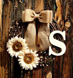 Rustic Monogrammed Sunflower Wreath - Fall Wreath - grapevine Wreath - Initial Wreath - Personalized Wreath - Fall Decor on Etsy, $44.00