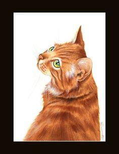 Ginger Cat Glance Back Print by I Garmashova