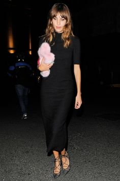 How To Shop Alexa Chung's Closet #refinery29  http://www.refinery29.com/2014/11/77393/alexa-chung-fashion-tips#slide5  The Shrimps Clutch Alexa holds tight to her Shrimps Daisy clutch. With a bag this cozy, wouldn't you? The brand's colorful faux fur not only works great as a makeshift pillow, it also adds a cheeky detail to Alexa's muted style.