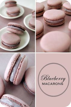 Blueberry macarons: For the macarons- �100g egg whites �3g egg white powder �125g almond meal �125g icing sugar �Red and blue food colouring For the syrup: �150g sugar and 50ml water || For the filling- �120g white chocolate, chopped �1/2 cup heavy cream