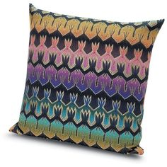 Missoni Home Roing Embroidered Cushion ($317) ❤ liked on Polyvore featuring home, home decor, throw pillows, gifts - decorative home, multi colored throw pillows, chevron throw pillows, embroidered throw pillows, chevron home decor and abstract throw pillows