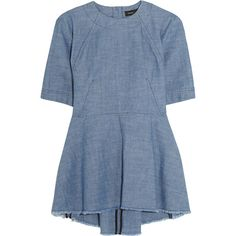 Proenza Schouler Cotton-chambray top (3,630 MXN) ❤ liked on Polyvore featuring tops, blouses, dresses, shirts, blue, cut loose shirt, flare top, blue top, shirt blouse and blue blouse