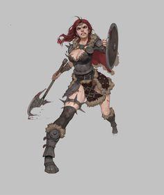 ArtStation - Viking woman, Kyun N Viking Character, Female Character Concept, Character Art, Dnd Characters, Fantasy Characters, Female Characters, Fantasy Female Warrior, Fantasy Girl, Viking Art