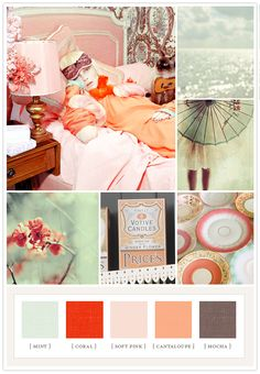 Punchy candy colorboard: mint, coral, soft pink, cantaloupe.