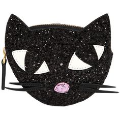 Lulu Guinness Women Glitter Kooky Cat Coin Purse (120 BAM) ❤ liked on Polyvore featuring bags, wallets, cat, accessories, black, cat bag, zip top bag, coin pouch wallet, cat wallet and change purse