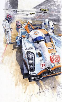 Yurly Shevchuk   WATERCOLOR       Lola Aston Martin Lmp1 Gulf Team 2009 Painting