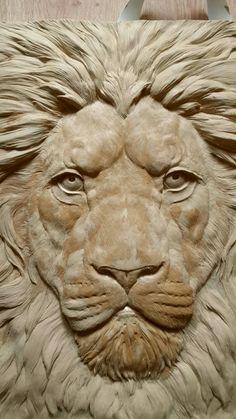 Wood Carving Patterns, Wood Carving Art, Woodcut Art, Plaster Art, Joker Art, Lion Art, Animal Sculptures, Woodcarving, Wood Sculpture