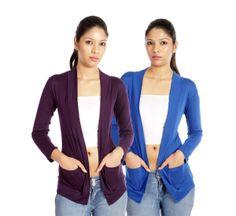 Teemoods Purple & Royal Blue Shrugs Combo