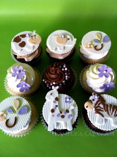 Adorable girl theme jungle baby shower cupcakes............ Mariana | Flickr - Photo Sharing!