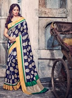 #Blue Bhagalpuri Silk #Saree On bhagalpuri silk printed saree alongside a matching blouse and border. This saree is perfect for wears from casual to classy affairs.