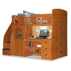 loft bed with desk dresser shelving and secret space under bed and behind the bunk bed dresser desk