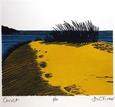'Beach'  Linocut  Edition of 10  Di Oliver