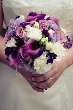 Purple, pink, white, and green bouquet