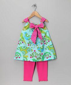 Aqua Bird Tunic & Leggings - Toddler & Girls
