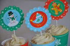 Let it Snow Christmas holiday cupcake toppers by GlitterInkDesigns, $3.00