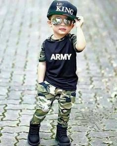 Pretty baby Boy Swag portion establish has a black tee and camouflage clothing trousers. Baby Boy Swag, Baby Boy Dress, Cute Baby Boy, Baby Kind, Mom Baby, Pretty Baby, Toddler Boy Fashion, Little Boy Fashion, Toddler Boy Outfits